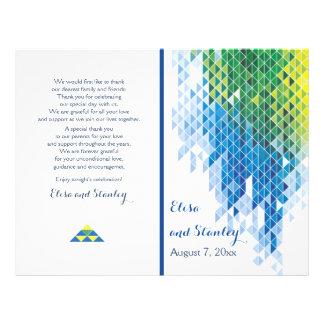 Blue geometric triangles modern wedding program