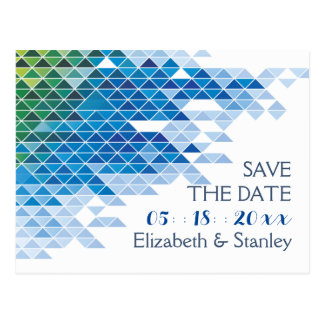 Blue geometric triangles wedding Save the Date Postcard