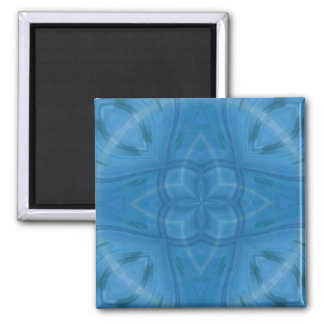 Blue geometric wood pattern 2 inch square magnet