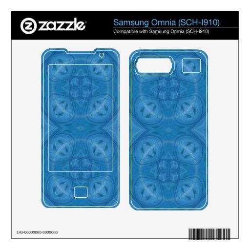Blue geometric wood pattern decals for samsung omnia