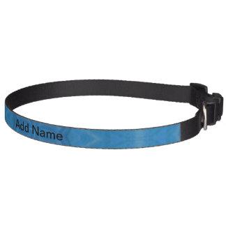 Blue geometric wood pattern dog collar