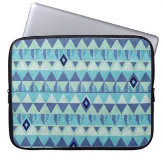 Blue Geometry Pattern Laptop Travel Sleeve Computer Sleeves