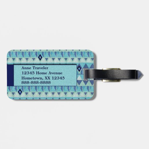 Blue Geometry Pattern Luggage Tag