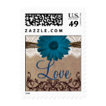 Blue Gerber Daisy LOVE Wedding Postage Stamps