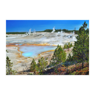 Blue Geyser and Porcelain Springs Stretched Canvas Prints