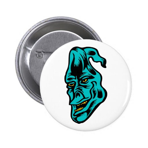 blue ghost pinback button