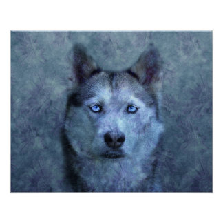 Blue Ghostly Wolf Face Poster