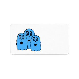 Blue ghosts on white address label