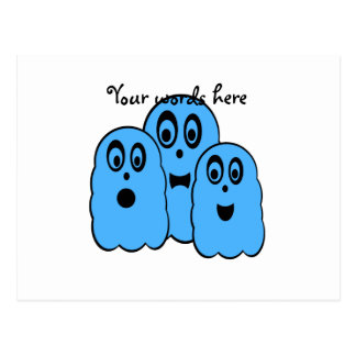 Blue ghosts on white postcard