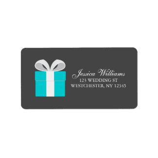 Blue Gift Box Bridal Custom Address Labels