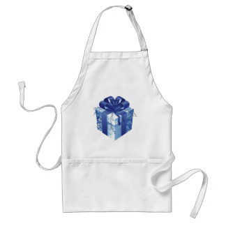Blue Gift Box with Blue Ribbon Adult Apron