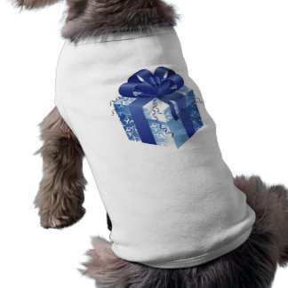 Blue Gift Box with Blue Ribbon Pet Clothing