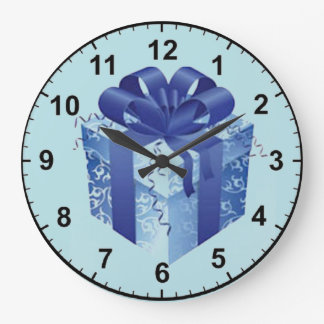 Blue Gift Box with Blue Ribbon Large Clock