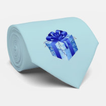 Blue Gift Box with Blue Ribbon Neck Tie