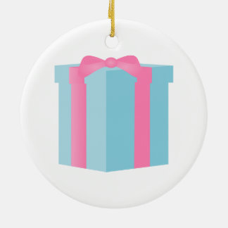 Blue Giftbox with Pink Ribbon Bow Ceramic Ornament