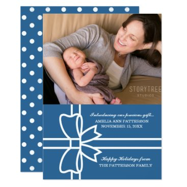 Beach Themed Blue Gifted Holiday Photo Flat Card