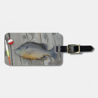 blue gill and fishing lures and hook luggage tag
