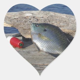 Blue Gill on the Dock Heart Sticker