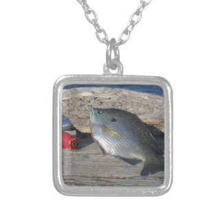 Blue Gill on the Dock Square Pendant Necklace