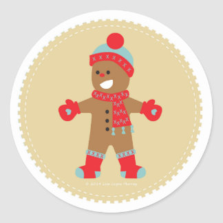 Blue Gingerbread Cookie Boy Classic Round Sticker