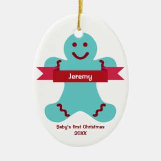 Blue gingerbread kid red banner name baby first ceramic ornament