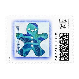 Blue Gingerbread Man, Happy Holidays postal stamp