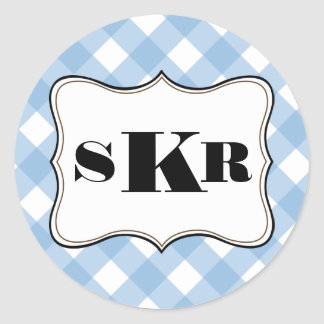 Blue gingham 3 monogram letter country style classic round sticker