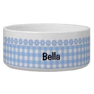 Blue Gingham and Flowers Ceramic Dog Bowl