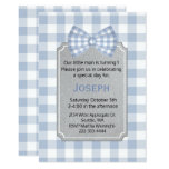 Blue Gingham Baby Boy First Birthday Invitation