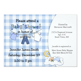 Blue Gingham Baby Boy Shower Invitation