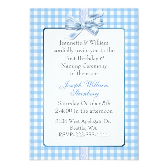Blue Gingham Baby\'s Birthday and Naming Ceremony Invitation | Zazzle.com