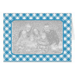 Blue Gingham Blank Photo Card