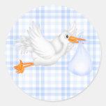 Blue Gingham Blue Stork Baby Shower Sticker