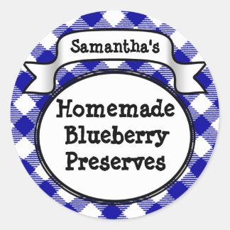Blue Gingham Blueberry Jelly Jam Jar/Lid Label Classic Round Sticker
