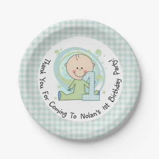 Blue Gingham Boy 1st Birthday Paper Plates 7 Inch Paper Plate