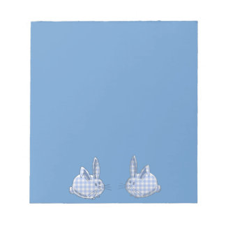 blue  gingham bunnies note pad
