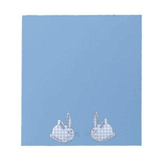 blue  gingham bunnies memo pads