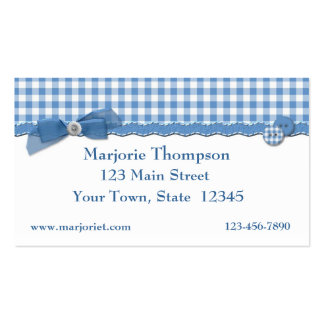 Blue Gingham Business Card