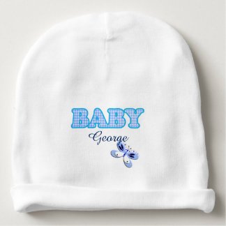 Blue Gingham Butterfly Baby Motif Personalized Baby Beanie