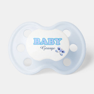 Blue Gingham Butterfly Baby Motif Personalized Pacifier