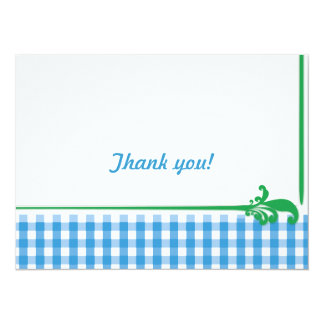 Blue Gingham Check Pattern Personalized Invites
