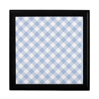 Blue Gingham checkered classic pattern Keepsake Boxes