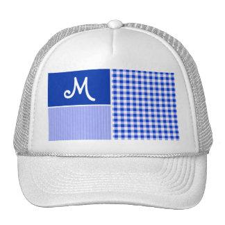 Blue Gingham; Checkered Mesh Hat