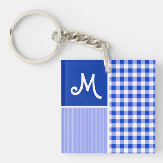 Blue Gingham; Checkered Acrylic Keychains