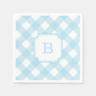 Baby blue gingham paper napkins