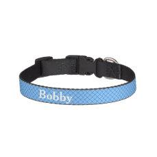 Blue Gingham Checks Personalised Pet Collar