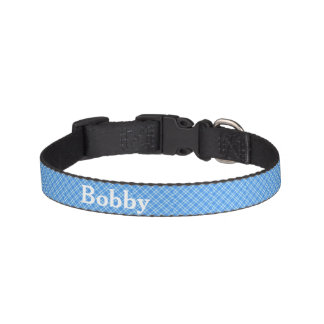 Blue Gingham Checks Personalised Pet Collar