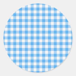 Blue gingham classic round sticker