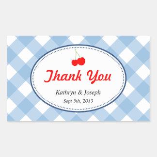 Blue gingham country picnic red cherry wedding rectangular sticker