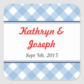 Blue gingham country picnic rustic wedding favor square sticker